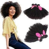 kıvırcık afro saç ürünleri toptan satış-Longjiahair Toptan Brezilyalı İnsan Virgin saç Afro Kinky Kıvırcık Örgü 3 Demetleri Insan Saç Uzantıları afro atkı ürünleri gagaqueen