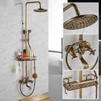 antike messing wasserhahn sets großhandel-Antik Messing Wandmontage Badewanne Dusche Set Wasserhahn Doppelgriff mit Commodity Regalmischer