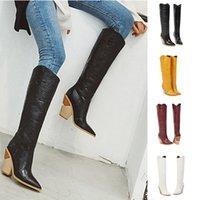 vaquero de rodeo al por mayor-Las cuñas de las mujeres en punta del dedo del pie zapatos cómodos bordado occidental del rodeo del vaquero Botas Mujer Otoño Invierno Mujer Botas