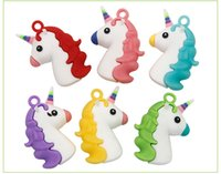 Wholesale PVC Unicorn Key Chains Ring Ornament Double Side Backpack Pedant Charms Key Holder Colors for Kids Gifts DHUJ9685