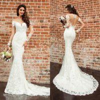 Wholesale 14 k gold resale online - Vestido Eddy K Mermaid Wedding Dresses Long Sleeve Lace Appliqued Jewel Beach Wedding Dress Bridal Gowns Custom Made