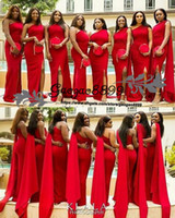 Wholesale bridesmaid dress flower shoulder strap resale online - 2019 New red Bridesmaid Dresses Satin One Shoulder Sleeveless Sweep Train Plus Size Maid Of Honor Gowns sexy split Wedding Guest Dresses