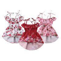 Wholesale girls dresses resale online - Baby Sling Princess Dress Toddler Infant Girls Floral Culottes Kids Designer Clothing Sleeveless Pleated Swallowtail Dress Suspender Skirt