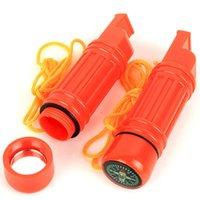 ingrosso strumenti di emergenza multi-5 in 1 Multi-funzione di sopravvivenza di emergenza Bussola Whistle Camping Tool Più nuovi mini gadget di sopravvivenza portatile escursioni campeggio fischio MMA2200