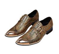 prom mens kleid schuhe großhandel-Italienische Luxus Stil Gold männer Business Prom Schuhe Aus Echtem Leder Herren Kleid Hochzeit Schuhe Spitz Männer Wohnungen Müßiggänger Schuhe EUR38-46