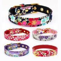 Wholesale style led tool for sale - 16 Styles Cherry Flower Pattern Bow Tie Fabric Pet Dog Collar Dog Leash Lead Tools Training Collars Dog Pet Supplies