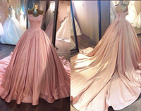 Wholesale white rose princess resale online - 2020 Dusty Rose Ball Gown Real Photo Pageant Prom Dresses Sweetheart Satin with Long Train Applique Beaded Evening Formal Gown Dress