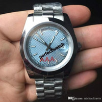 Wholesale mens watches for sale - Group buy hot sale sapphire watches men automatic DAYDATE Blue face Stainless steel watch men Mechanics original clasp mens watches