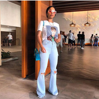 spandex горячие штаны плюс размер оптовых-Старинные модные женские расклешенные джинсы Лето Голубые узкие рваные джинсы Сексуальные женские молнии с длинными штанами
