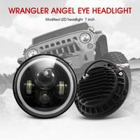 ingrosso il faro principale del motociclo principale-Per Jeep Wrangler Led Headlight 7inch 75W tondo High Low Beam Lights H4 H13 Adapter Tachimetro per fuoristrada 4x4 Motorcycles
