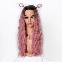 ingrosso fabbrica di capelli lunghi-Prezzo di fabbrica 1pc donne moda lady rosa lunghi capelli ricci ondulati 65 centimetri rosa netto netto parrucche cosplay stand in magazzino nuovo feb20