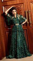 abaya dubai gece önlükleri toptan satış-Uzun Kollu ile Hunter Koyu Yeşil Örgün Abiye 2019 Dubai Arapça Müslüman Kaftan Abaya 3D Çiçek Dantel Durum Balo Elbisesi