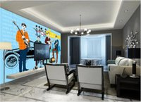 Wholesale black art picture for living room for sale - 3d room wallpaper custom photo mural Beatles illustration wall home decor wall art pictures wall art canvas pictures wallpaper for walls d