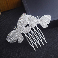 Wholesale butterfly hair comb wedding online - Elegant Rhinestone Butterfly Hair Comb Wedding Party Crown Hair Accessory Formal Event Headpiece Bridal Jewelry Ready to Ship