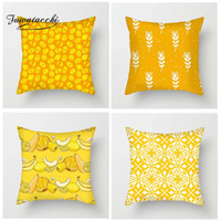 желтые наволочки оптовых-Fuwatacchi Fresh Yellow Geometric Floral Cushion Cover Banana Easter Eggs Flower Throw Pillowcase Wheat Star Pillowcases