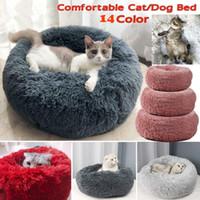 ingrosso letti divani letto-Caldo pile Dog Bed Cuscino rotondo animale domestico per Small Medium Large cani Gatto peluche lunga Inverno Dog Kennel cucciolo Mat Bed Lounger Divano