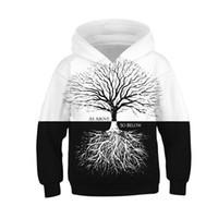 kızlar beyaz sweatshirt toptan satış-Siyah Beyaz Tişörtü Erkek Hayat Ağacı 3D Baskı Erkek Hoodies Bebek Kız Giysileri Çocuklar Çocuklar Için Bahar Sonbahar Uzun Kollu