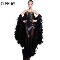schwarzes trägerloses durchblick durch kleid großhandel-Glitzernden schwarzen Strass Federn Ärmel durchsichtig trägerlosen Kleid Nachtclub Frauen Sänger Mesh Kleid Cosplay Party