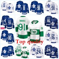 ingrosso foglia di acero bianco-Esplosione Toronto Maple Leafs 91 John Tavares 16 Mitchell Marner 34 Auston Matthews Blue White Green Stadium Stadium Serie Hockey Jersey