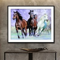 Wholesale paintings animals scenery resale online - 5D DIY Diamond Painting Animal Horse Round Diamond Embroidery Full Diamond Scenery Rhinestones Wall stickers Home Decor Gifts
