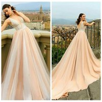 Wholesale dresses apple shape for sale - Group buy 2021 Sexy Deep V Neck Tulle A Line Prom Dresses Tulle Sweep Train Long V Shape Back Special Occasion Party Gowns Customized Vestidos