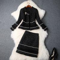 roupas femininas saias de escritório venda por atacado-Moda 2019 Outono Inverno das Mulheres Novo Frisado Bow Jacket Tweed Grosso Borlas Ternos Mini Saia Senhora Do Escritório Conjuntos de Duas Peças