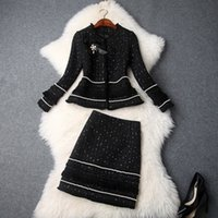perler pour les costumes achat en gros de-Mode 2019 Automne Hiver Femmes Nouvelle Veste Arc Perlée Épais Tweed Glands Mini Jupe Costumes Bureau Dame Deux Pièces Ensembles