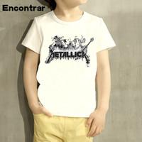 tops kız gömlek tasarımı toptan satış-Ağır Metal Kaya Metallica Karikatür Tasarım Bebek Erkek / Kız T Gömlek Çocuklar Komik Kısa Kollu Çocuk Sevimli Tops
