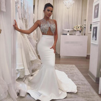 Wholesale vintage mermaid style prom dresses resale online - 2020 Newest Style Illusion Bodice White Prom Dresses Shining Beaded Crystal Mermaid Stain Empire Waist Formal Evening Gown For Special Party