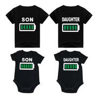 oğlu t gömlekleri toptan satış-Babası Kızı Ile T-Shirt Anne Oğul Kızı Mektup Baskı Yuvarlak Boyun Kısa Kollu T-Shirt Aile Eşleştirme Kıyafet Baba Ile Oğlu Tops