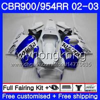 honda 954 rr carenados al por mayor-Bodys Repsol azul blanco para HONDA CBR900RR CBR 954 RR CBR954RR 02 03 CBR900 RR 280HM.46 CBR 900RR CBR954 RR CBR 954RR 2002 2003 kit de carenado