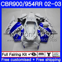 carenados para honda cbr 954 al por mayor-Bodys Repsol azul blanco para HONDA CBR900RR CBR 954 RR CBR954RR 02 03 CBR900 RR 280HM.46 CBR 900RR CBR954 RR CBR 954RR 2002 2003 kit de carenado