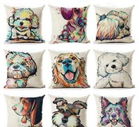 Wholesale terrier dogs resale online - DHL cm Sofa Pillow Case Dog Bull Terrier Painted Pillow patterns Square Linen Cushion Cover For Home nt
