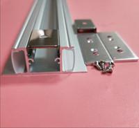 cubierta de perfil de tira de led al por mayor-Canal de aluminio LED con forma de U con cubierta, tapas y clips de extremo libre, perfil de aluminio para instalaciones de luz de tira de LED 2m / pcs