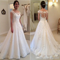 Wholesale pink see through wedding dresses for sale - Group buy 2019 New Country Modest Lace Appliques Wedding Dresses Sheer Bateau Cap Sleeves See Through Button Back Floor Length Bridal Gowns Vestidos