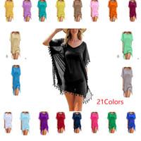 diseñador de mujer vestidos de ganchillo al por mayor-21Colors Women Beach Bikini Cover Up Lace Hollow Crochet Swimwear Beach Dress Designer Summer Ladies Cover-Ups Traje de baño Beach Wear Tunic