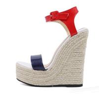 ingrosso cunei in pattino ad alta scarpa blu-Vendita calda-15cm scarpe da donna di lusso rosso blu tacco alto zeppe sandali firmati 2018 taglia 35-40