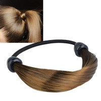 Wholesale hair wig promotion for sale - Group buy Women Straight Braid Wig Elastic Hair Band Rope Scrunchie Ponytail Holder Promotion Hot