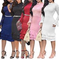 modelos encantadores venda por atacado-Lace Mulheres Vestidos Corte Neck Outono sexy magro cor sólida Ruffle Sleeved longos BODYCON Vestidos Moda feminina vestidos de festa