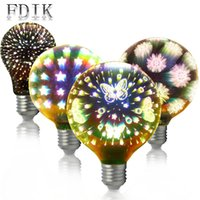 schneeflocke großhandel-Kreatives 3D LED E27 4W A60 G95 G125 Birnen-Feuerwerks-Schmetterlings-sternenklarer Himmel Schneeflocke blenden Farbe Edison-Weihnachtsdekorations-Licht