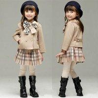 ingrosso abiti invernali per bambini coreani-2 di inverno del bambino ragazza vestiti rifornisce pezzi coreano sport plaid vestito per bambini insieme insiemi dei vestiti di moda i bambini infantili tute vestiti