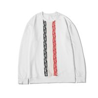chemise rayée blanche et noire achat en gros de-Nouvelle arrivée des femmes des hommes Sweatershirts Couleur blanc et noir bande rouge O-Neck Casual Sweat-shirt Top qualité Pull B103686V