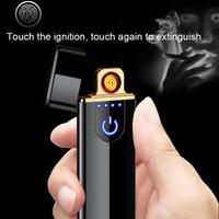 cargando encendedor de cigarrillos al por mayor-Nuevo patrón de carga encendedor Inducción táctil a prueba de viento electrónico ultra delgado USB encendedor de cigarrillos personalizado Metal Envío Gratis
