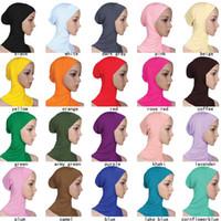 ingrosso sciarpe interne-Designer donne musulmane copertura interno Hijab sciarpe donna tinta unita Plain Underscarf Cap sciarpa mercerizzato cotone signore cappello cny1370