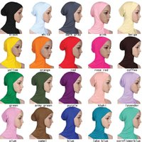 Wholesale hijab inner scarf resale online - Designer Muslim Women Cover Inner Hijab Scarves Woman Solid Color Plain Underscarf Cap Scarf Mercerized Cotton Ladies Hat cny1370