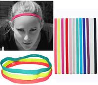 mädchen farbige slips großhandel-12pcs / lot Hipsy Cute Fashion No Slip Candy farbige Sport Yoga Hairband Stirnbänder für Frauen Mädchen