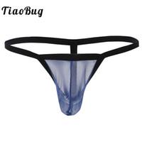 veja através de lingerie de corda g venda por atacado-TiaoBug Homens Swimwear Lingerie Sexy Underwear See-through G-string Bikini Thong Malha Pênis Pouch Pouch Maiô Calcinha Masculina
