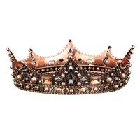 königin vollen, runden kronen groihandel-Retro Palace Barock Queen Crown Glas Runde Crown Hairband Vollkreis Crown Hochzeit Kopfschmuck Haarschmuck