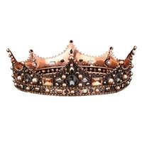 ingrosso corona piena arrotondata-Retro Palace Baroque Queen Crown Vetro rotondo corona Hairband Full Circle Crown Wedding copricapo Accessori per capelli