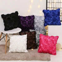 Wholesale rose fancy for sale - Group buy 40 cm fancy wedding gift cushion pillow case cubic Rose Flower Hotel cushion sleeve pillow cover T3I5093